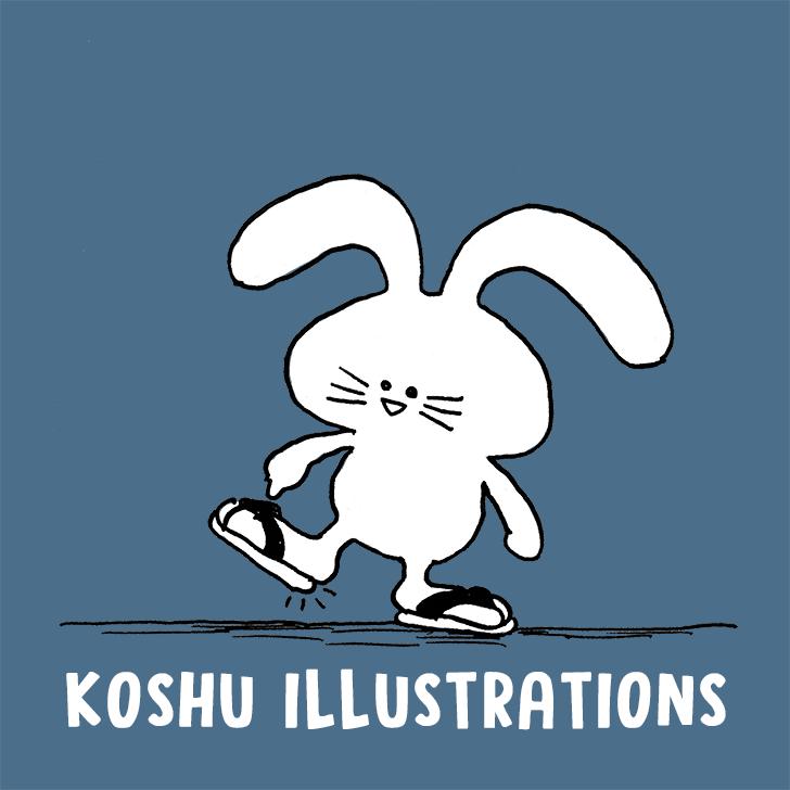 雪駄を履くウサギのマイロ イラストレーターコウシュウマサル